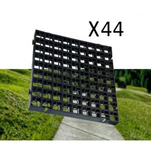 44 x Black Heavy Duty Plastic Greenhouse Pavement Path Driveway Grass Grid (11 Square Metres)