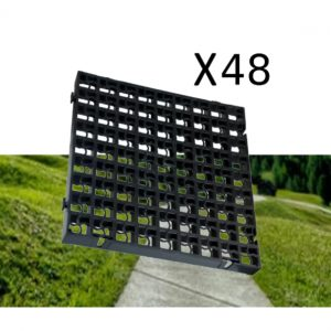 48 x Black Heavy Duty Plastic Greenhouse Pavement Path Driveway Grass Grid (12 Square Metres)