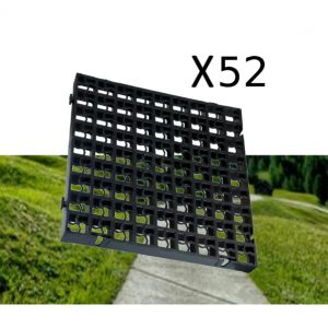 52 x Black Heavy Duty Plastic Greenhouse Pavement Path Driveway Grass Grid (13 Square Metres)