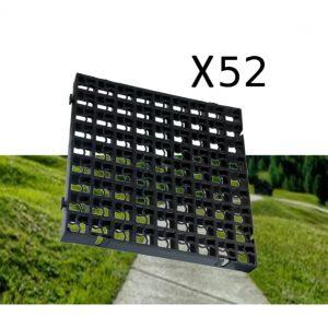52 x Black Heavy Duty Plastic Greenhouse Pavement Path Driveway Grass Grid (13 Square Metres)