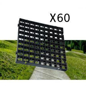 60 x Black Heavy Duty Plastic Greenhouse Pavement Path Driveway Grass Grid (15 Square Metres)