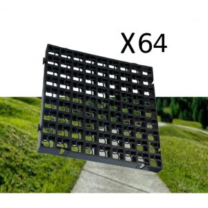 64 x Black Heavy Duty Plastic Greenhouse Pavement Path Driveway Grass Grid (16 Square Metres)