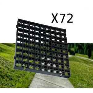 72 x Black Heavy Duty Plastic Greenhouse Pavement Path Driveway Grass Grid (18 Square Metre)