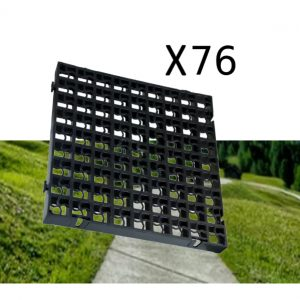 76 x Black Heavy Duty Plastic Greenhouse Pavement Path Driveway Grass Grid (19 Square Metres)