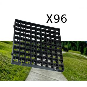 96 x Black Heavy Duty Plastic Greenhouse Pavement Path Driveway Grass Grid (24 Square Metres)