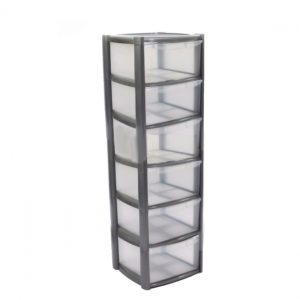 6 Drawer Plastic Storage Tower Unit - Silver