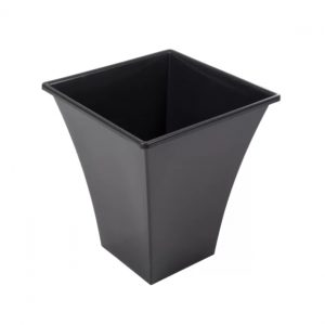 Large Black Metallic Planter Pot, Plastic Tall