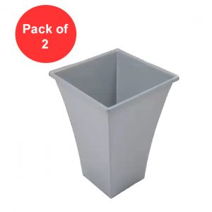 Large Silver Metallic Planter Pot, Plastic Tall (Pack of 2)