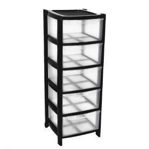 5 Drawer Plastic Storage Tower Unit - Black