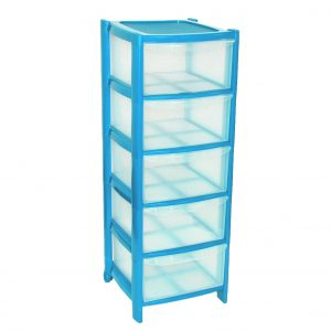 5 Drawer Plastic Storage Tower Unit - Blue