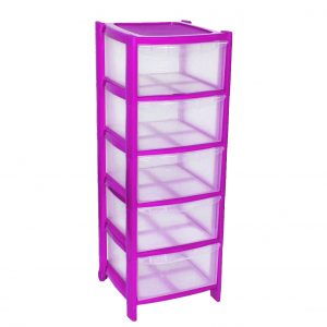 5 Drawer Plastic Storage Tower Unit - Pink