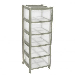 5 Drawer Plastic Storage Tower Unit - Silver