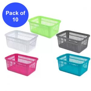 Pack of 10 Plastic Handy Storage Baskets
