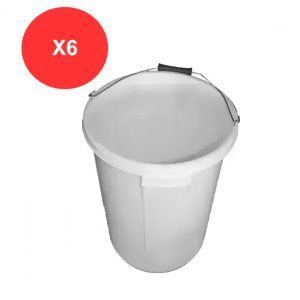 6 x 25 Litre White Plasterers Bucket (Pack of 6)