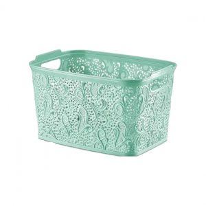 Plastic Pastel Green Medium Lace Basket Box