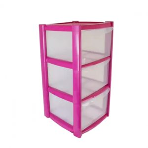 3 Drawer Plastic Storage Tower Unit - Pink