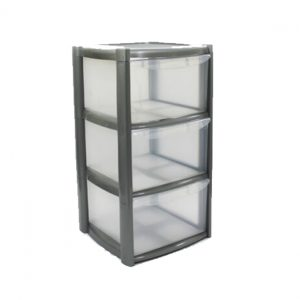 3 Drawer Plastic Storage Tower Unit - Silver