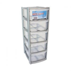5 Drawer Mini/Desktop Plastic Storage Tower Unit - Silver