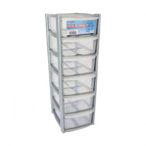 6 Drawer Mini/Desktop Plastic Storage Tower Unit - Silver