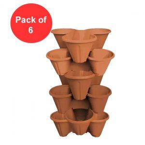 Plastic Strawberry Planter, Terracotta (Pack of 6)