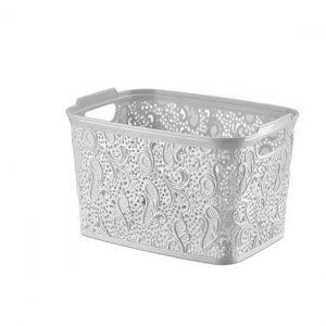 Plastic White Medium Lace Basket Box